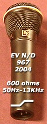 EV967 midrange reduced (presence) setting for even close miking